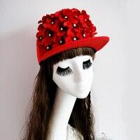 خمر الأرجواني الزهور قبعة الهيب هوب فريد القوطي الزهور شقة كاب اليدوية الفريدة اكسسوارات