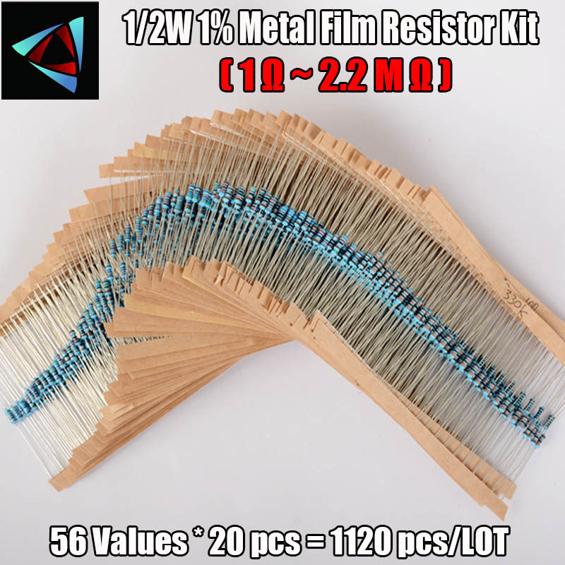 1120pcs Metal Film Resistor 0.5W 56Values 1/2W 0.5Watt 1% Metal Film Resistance Assorted Kit Set (1 Ohm - 2.2M Ohm )