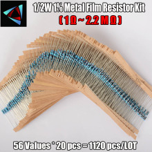 Купить с кэшбэком 1120pcs Metal Film Resistor 0.5W 56Values 1/2W 0.5Watt 1% Metal Film Resistance Assorted kit Set (1 ohm - 10M ohm )