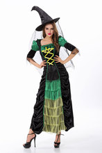 Adult Witch Halloween Costumes for Women with hat,T-String Black short sleeve long dress Sexy devil costumes for women cosplay