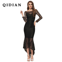 QI DIAN High Quality Runway Christmas 2018 Spring Summer New Fashion Women Party Office Vintage Lace