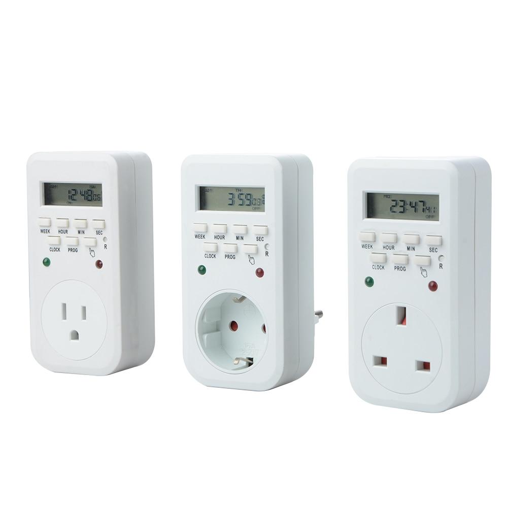 Energy-saving Programmable Time Switch 220V 50Hz 16A EU US UK Plug Auto On/Off Relay Timer Switch Socket Digital LCD Power Timer digital lcd power timer programmable 7 5va time switch relay 16a timers cn101a timer ac 220v