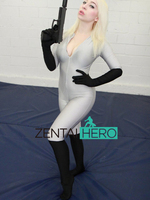 Free Shipping DHL Lady Amazing Gray And Black Lycra Spandex Zentai Catsuit Full Sleeve Tight Unitard Bodysuit Front Zipper LZ401