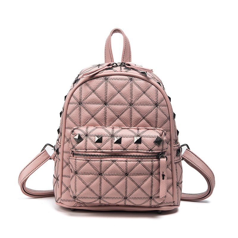 Elegant Diamond Lattice Backpacks Fashion Women Embroidered Line Backpack Casual Rivet Travel Shoulder Bag Backpacks BP026