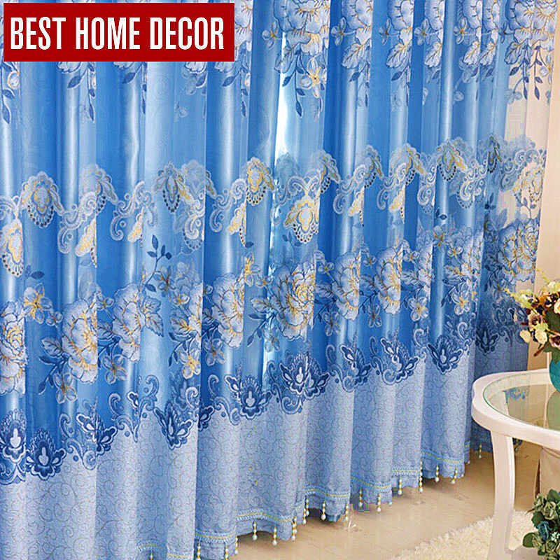 Best home decor floral drapes window blackout curtains for living room the bedroom modern tulle curtains window treatment blinds