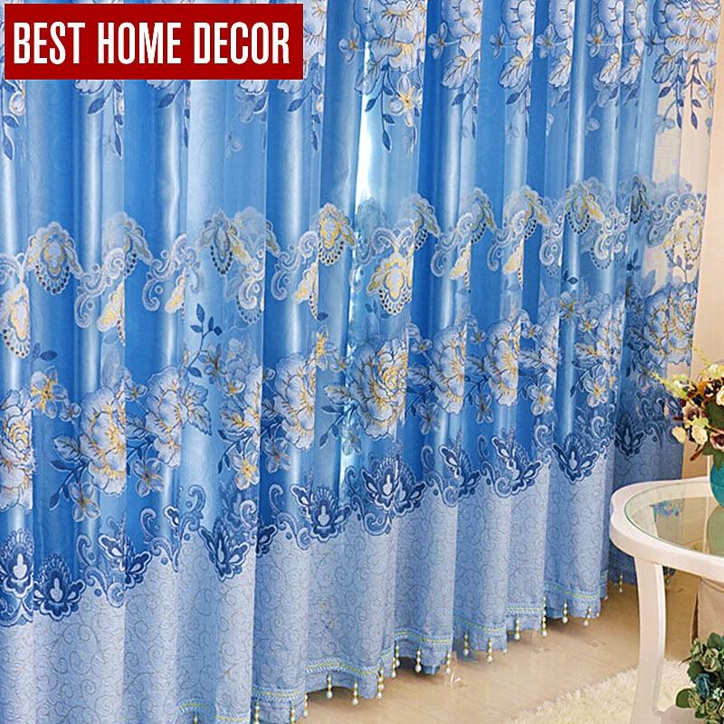 Terbaik dekorasi rumah floral tirai jendela pemadaman tirai untuk ruang tamu kamar tidur modern tirai tulle tirai perawatan ...