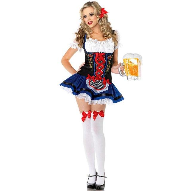 8ba254f579782 Fête de carnaval bavaroise Oktoberfest fantaisie Dess bière femme de  chambre Costume Cosplay Sexy Costumes femmes