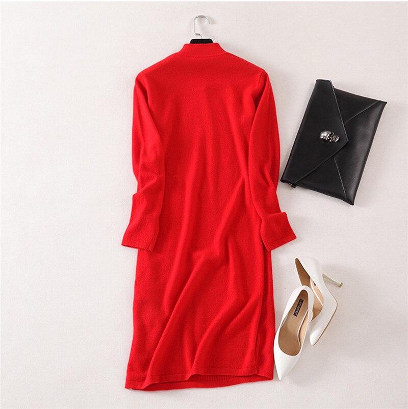 Женское трикотажное платье свитер высшего качества из 100% кашемира в стиле cheongsams, с длинными рукавами, бежевый, красный, серый, 3 однотонных ц... - 2