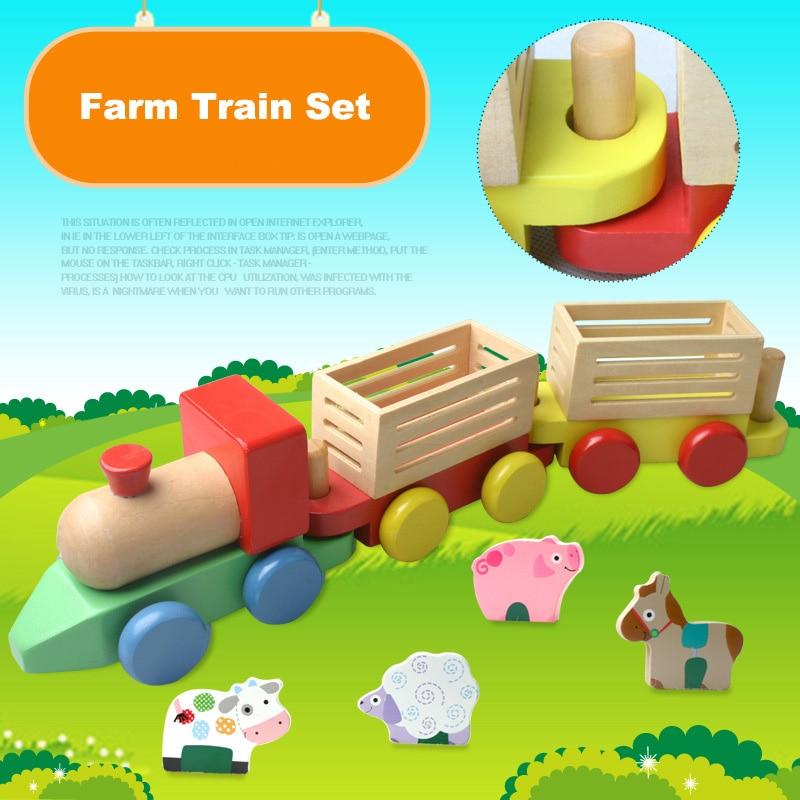 Aliexpress.com : Buy Farm animal train wooden blocks Three ...