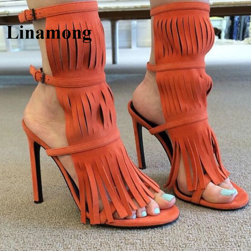 2018 Solid Fringe Sexy Women Sandals Bandages Flock Thin High Heel Super High Heel Fashion Buckle Strap Summer Women Sandals fashion sexy women summer sandals gladiator black red solid sandals buckle strap nubuck leather thick heel sandals us size 5 9