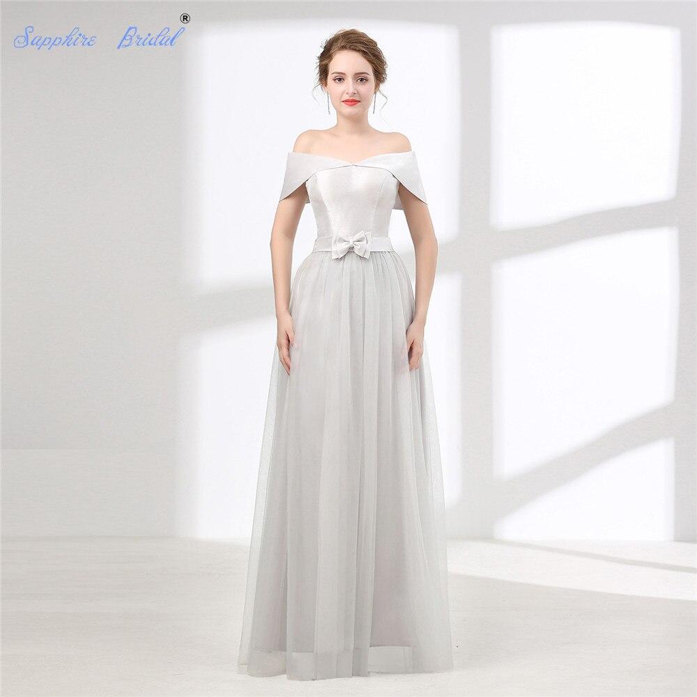 Sapphire Bridal Vestido De Noiva Simple Beach Wedding Dress White Ivory Silver Grey Off The Shoulder Bow Long Boho Bridal Gown