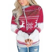 Carol Diaries Fashion Hooded Christmas Sweatshirt Harajuku Casual Snowflake Deer Printed Women Hoodies Moleton White Pullover