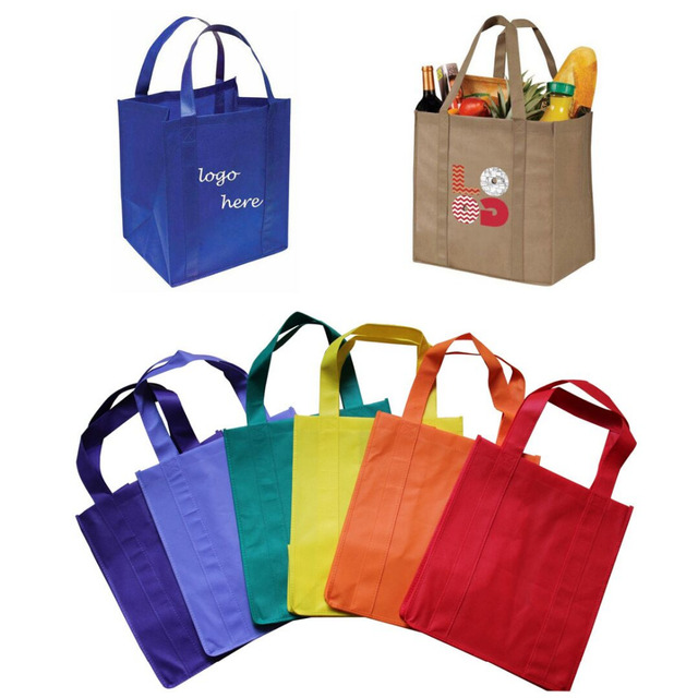 1000pcs/lot Custom Grocery Foldable Fabric Eco Bag Personalized Non Woven Webshop Reusable Shopping Tote Bags for Supermarket