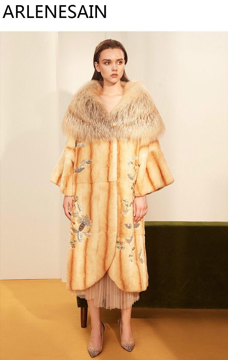 Arlenesain на заказ волк меховой воротник и золотой лисий мех Женское пальто