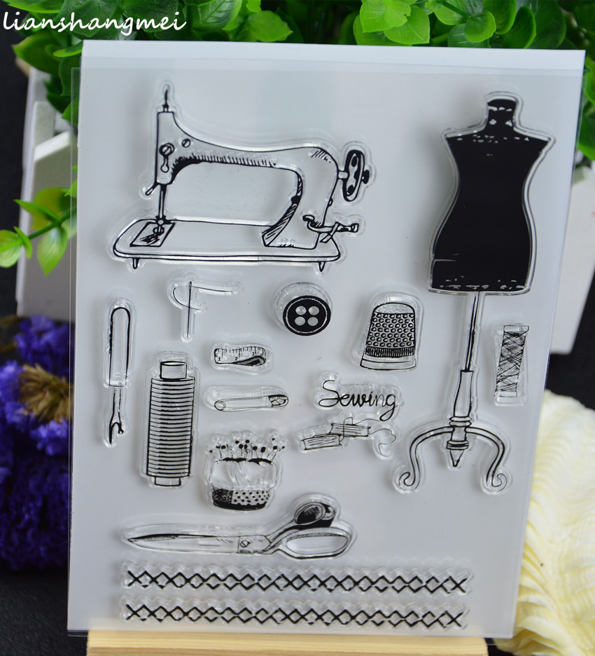 Sewing Machine Transparent Clear Silicone Stamp/Seal for DIY scrapbooking/photo album Decorative clear stamp lovely animals and ballon design transparent clear silicone stamp for diy scrapbooking photo album clear stamp cl 278