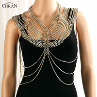 Chran New Sexy Women Harness Full Body Chain Fashion Multi Layer Halter Shoulder Necklac Costume Chain