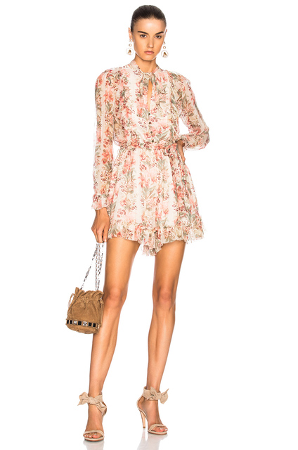 934347e55fff Women Maple Printed Folly Neck Tie Silk Romper V-neck Long sleeves Ruffle  and Picot Trim Playsuit