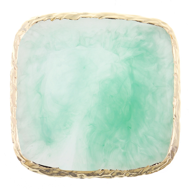 Monja Resin Stone Nail Art Acrylic UV Gel Painting Display PaletteSquare Gold Edge Nail Polish Mix Showing Board Manicure Tool