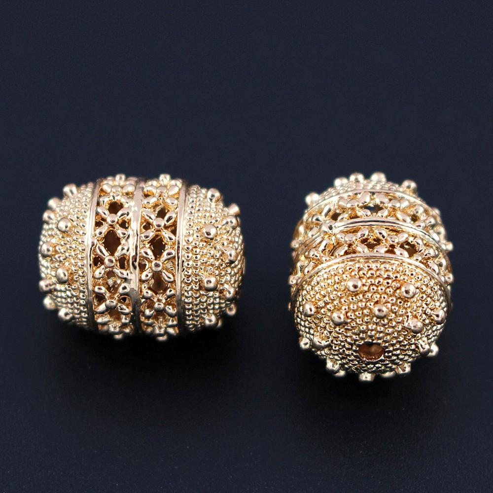 Quality Gold Color Metal Spacer Bracelet Beads Filigree Beading Findings Accessories DIY African Women Necklace Jewelry Making