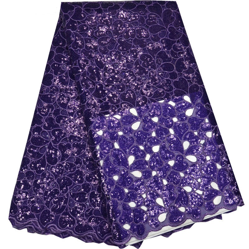 5yards pc high quality hand cut African organza sequins lace in purple with wonderful embroidery