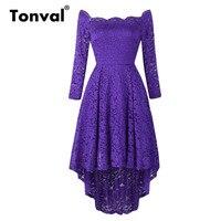 Tonval High Low Hem Purple Midi Lace Long Sleeve Dress Off Shoulder Sexy Women Dresses Evening Party Elegant Dress