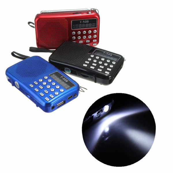 Mini Draagbare Oplaadbare Digitale LED display panel Stereo FM Radio Speaker USB TF mirco voor Sd-kaart MP3 Muziekspeler