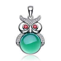 Aceworks Owl Pendant Color Stones 925 Sterling Silver Charm Pendant Fit Women Necklace Chains Fashion Gift