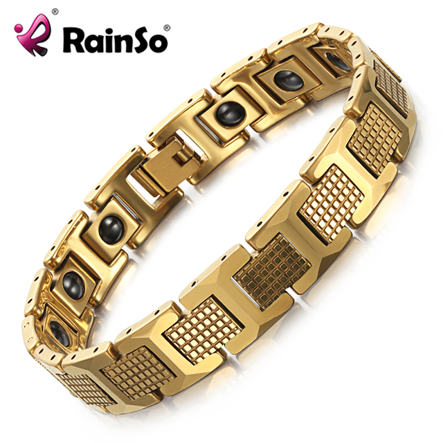Rainso 8 Inch Gold Tungsten Carbide Bracelet For Men With Magnets Anti Fatigue Therapy Link
