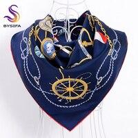 [BYSIFA] Marineblauw Vrouwen Zijde Sjaal Wraps Nieuwe Ontwerp Merk Keten Bloemen Dames Twill Vierkante Sjaals Voor Winter Bufandas