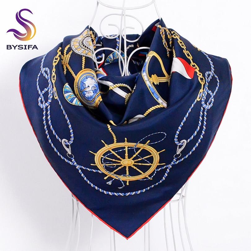 [BYSIFA] Ծովային կապույտ կանացի մետաքսե զարդի շալը փաթաթում է նոր դիզայնի բրենդի շղթայի ծաղիկները