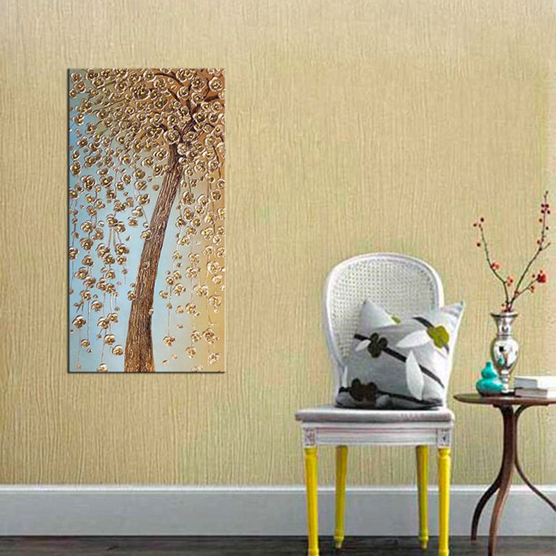 Handmade Canvas Oil Painting for Home Decoration Wall Hanging Golden ...