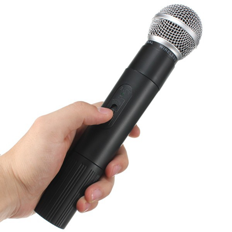 ФОТО Hot Sale 1 Pair Professional Wireless Microphone 220V Pro 2 Channels VHF Handheld KTV Microphone Mic With Receiver
