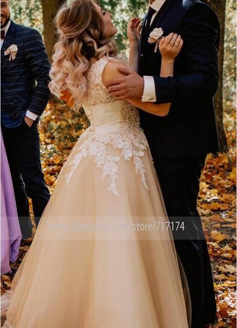V-neck Lace Applique Cap Sleeve Long Elegant A-line Wedding Dress with Lace-up Pearls Champagne Bridal Dress vestido de novia 4