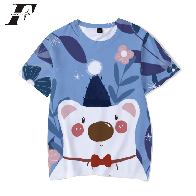 2018 harajuku Kawaii Animals 3D Print Women/Men funny T shirts short sleeve Anime t-shirts Summer Cotoon mens clothing