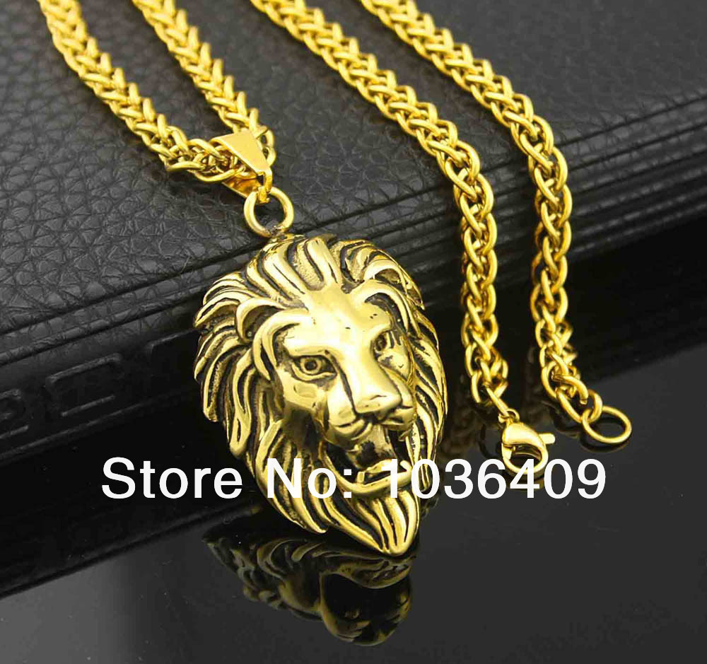 Bling gold lion head pendant charm necklace wheat chain mens biker bling gold lion head pendant charm necklace wheat chain mens biker jewelry in pendants from jewelry accessories on aliexpress alibaba group aloadofball Image collections