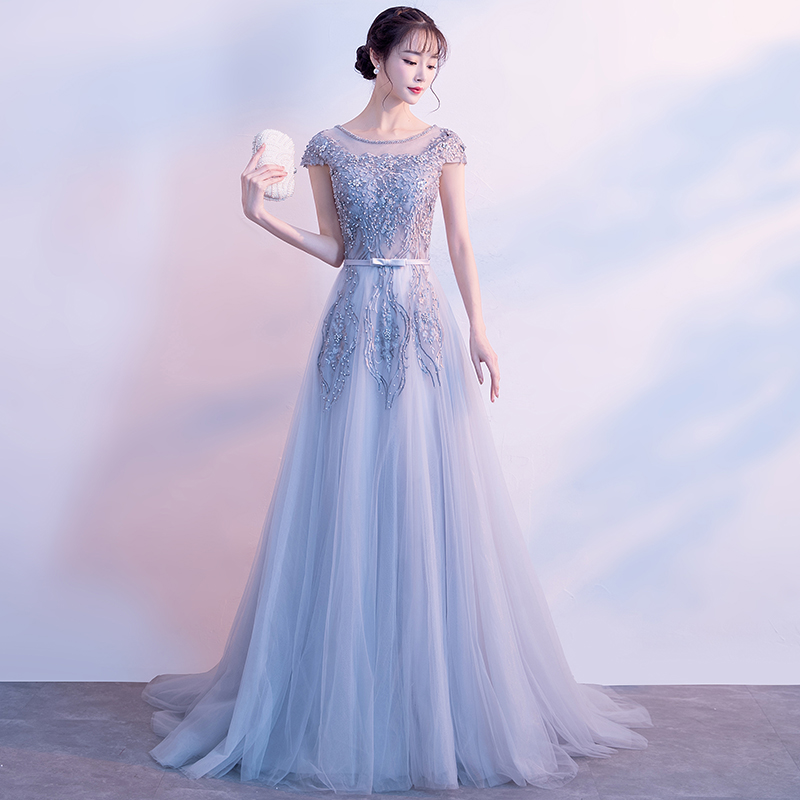 Formal   Evening     Dress   2019 New High End Elegant Prom   Dresses   Illusion O-neck Silver Party   Dress   Beading Robe De Soiree
