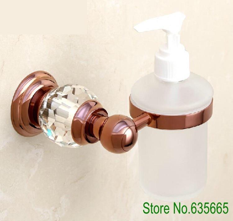 Luxury Crystal Glass Decoration Rose Gold Brass Wall Hand Liquid Soap Dispensers Emulsion Bottle Bathroom Sanitary