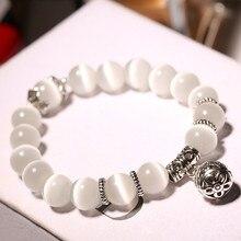 Натуральные опаловые бусины браслеты кристалл Модный женский браслет винтажные браслеты из нержавеющей стали для женщин 370539
