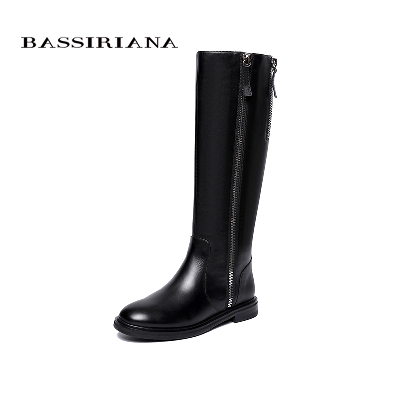 BASSIRIANA Winter 2018 New Boots Natural Leather Women's Boots Size 35-40 Free Shipping