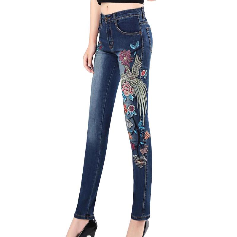 Plus la taille 7XL Femmes Taille Haute Maigre Nationalité Broderie Jeans Femme Denim Pantalon Pantalon Femmes Jeans Crayon Pantalon w1054