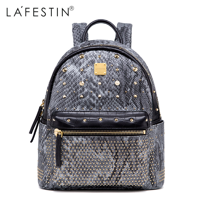 Фотография LAFESTIN Fashion Rivet Serpentin Backpack Women Casual Versatile Solid Backpack Girls School Bags Backpack Mochilas
