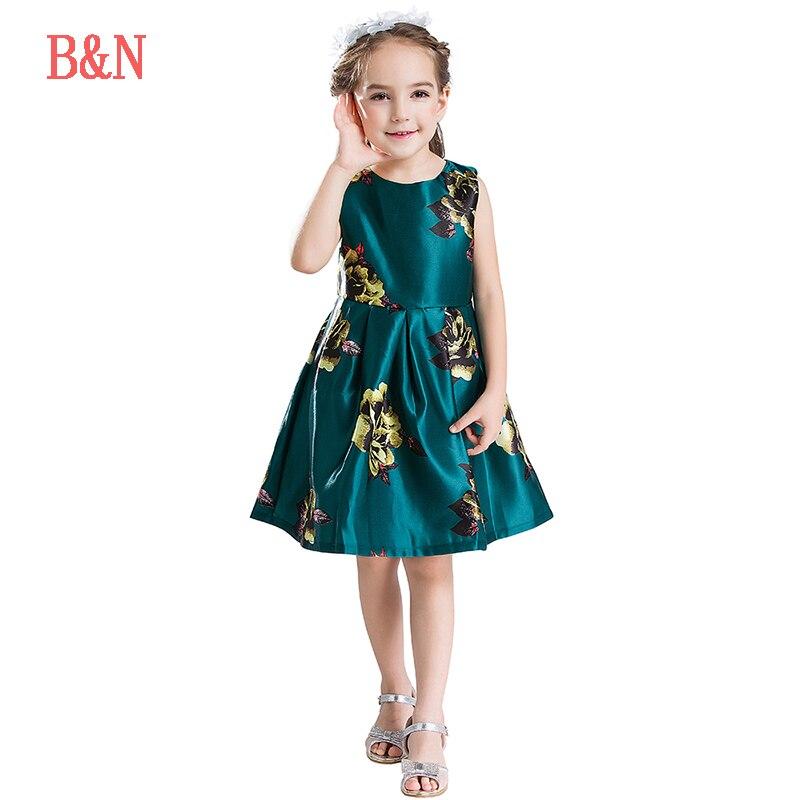 B&N Printed Floral Girls Dresses Summer Children's Dress Sleeveless Infantil Baby Party Dress For Girl Prom Dresses Girls gf go7300 b n a3 gf go7400 b n a3
