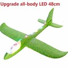 Большой хорошее качество 48 см светодиодный ручной запуск метательный самолет планерный самолет инерционная пена EPP игрушка детская модель самолета для отдыха на открытом воздухе
