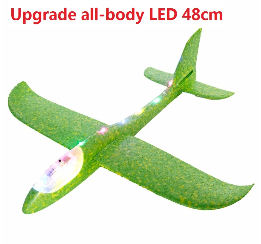 Big Good quality 48cm LED Hand Launch Throwing Airplane Glider Aircraft Inertial Foam EPP Toy Children Plane Model Outdoor Fun(China)
