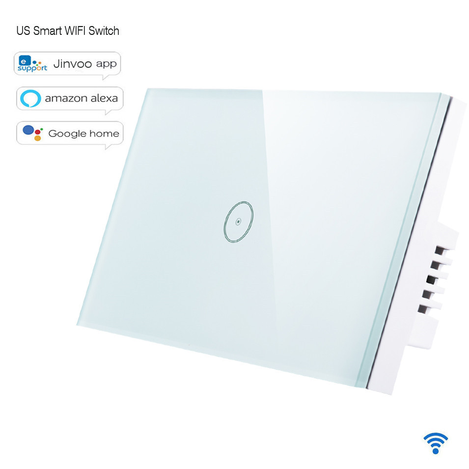 New Jinvoo app US Type Smart WIFI Switch 1 Gang 1 way Touch Panel,Wireless Remote Wifi Light Switch,Works With Alexa Google Home