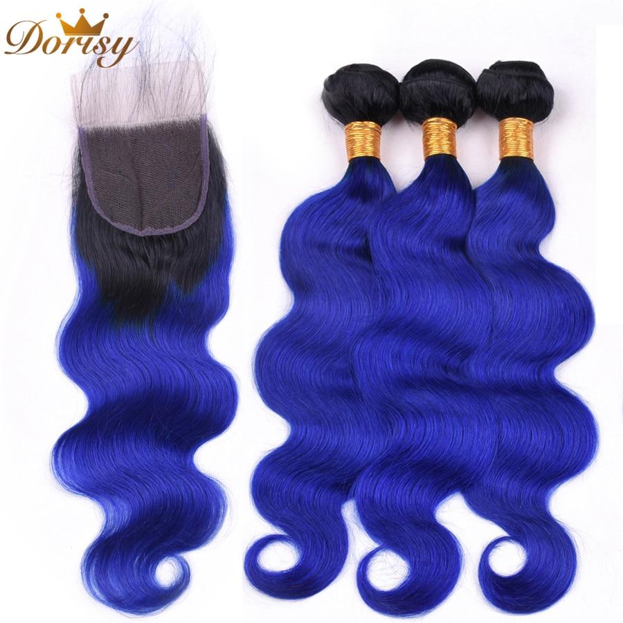 Dorisy Bundles With Closure T1b/Blue Color 3 Bundles Mongolian Body Wave Hair With Closure 4*4 Lace 4pcs/lot Human Remy Hair