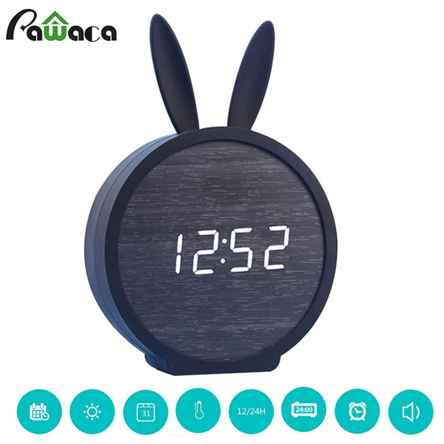 Cute Rabbit Wood Digital LED Alarm Clock Sound Control Home Bedside