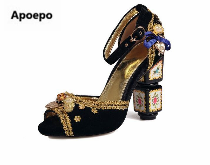 Apoepo Luxury brand design shoes women peep toe clogs pumps flower decor high heels pumps embroider women shoes 2018 Retro style luxury brand shoes women peep toe