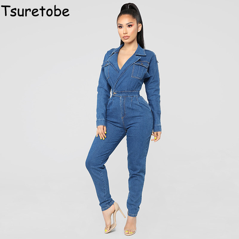 Tsureobe Temperament Denim Jumpsuit Women Bodycon Fashion Casual Bodysuit Female Long Sleeve Elegant Bandage Playsuit Vestidos