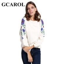Gcarol Новинка вышитые цветочные Для женщин Свитшот оверсайз Повседневный пуловер высокое качество осень-зима одноцветное Худи